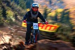 Extremer Mountainbikewettbewerb des Herbstes Lizenzfreie Stockfotos