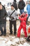 Almaty Kasakhstan - Februari 21, 2013. Av-väg som är tävlings- på jeeps, bilkonkurrens, ATV. Traditionell race Royaltyfria Bilder