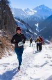 ALMATY KAZACHSTAN, KWIECIEŃ, - 09, 2017: Amatorskie rywalizacje - Halny maraton w pogórzach Almaty, na Obraz Stock
