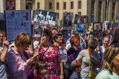 ALMATY KAZACHSTAN, MAJ, - 9: Nieśmiertelny pułku marsz podczas V Obraz Stock