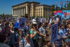ALMATY KAZACHSTAN, MAJ, - 9: Nieśmiertelny pułku marsz podczas V Fotografia Stock