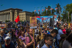 ALMATY KAZACHSTAN, MAJ, - 9: Nieśmiertelny pułku marsz podczas V Fotografia Royalty Free