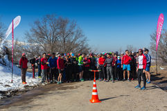 ALMATY, KAZAKHSTAN - APRIL 09, 2017: Amateur competitions - Mountain half-marathon, in the foothills of Almaty, on the Stock Image