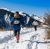 ALMATY, KAZAKHSTAN - APRIL 09, 2017: Amateur competitions - Mountain half-marathon, in the foothills of Almaty, on the royalty free stock photo
