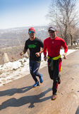 ALMATY, KAZAKHSTAN - APRIL 09, 2017: Amateur competitions - Mountain half-marathon, in the foothills of Almaty, on the Royalty Free Stock Image
