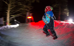 ALMATY, KAZAKHSTAN - 18 FEBRUARY 2017: Night competitions in the foothills of the city of Almaty, in the Trailrunning Stock Photo