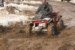 Almaty, Kazakhstan - February 21, 2013. Off-road racing on jeeps, Car competition,  ATV. Royalty Free Stock Images