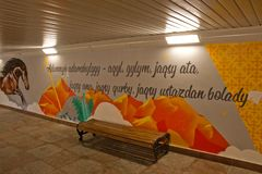 Almaty, Kazakhstan - May 2, 2019: Colourful painting on the wall in the city royalty free stock photo