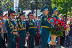 ALMATY, KAZAKHSTAN - MAY 9: Victory Day celebration victory in Royalty Free Stock Images