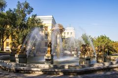 Almaty, Kazakhstan - September 15, 2018: Fountain Oriental calen stock photos