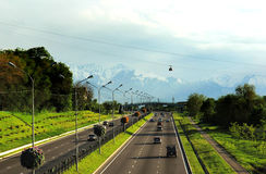 Almaty, Kazakhstan, view to the Eastern Bypass Highway and Cableway Stock Photography