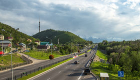 Almaty, Kazakhstan, view to the Eastern Bypass Highway and Kok-Tobe Stock Photos