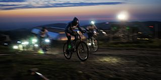 Nigth race mountain bike competition Royalty Free Stock Images