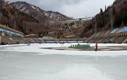 Almaty - Medeo utomhus- stadion Arkivbild
