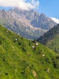 Almaty - montagnes et route funiculaire à la station de sports d'hiver de Shymbulak Photo libre de droits