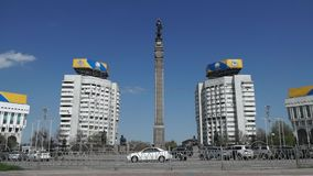Almaty - Monument of Independence of Kazakhstan stock video footage