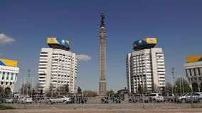 Almaty - Monument of Independence of Kazakhstan - Timelapse stock video footage