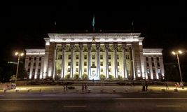 Almaty - Night view to Old Square and Government House Royalty Free Stock Image