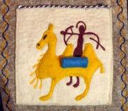Almaty - piccolo tappeto etnico kazako Fotografia Stock Libera da Diritti