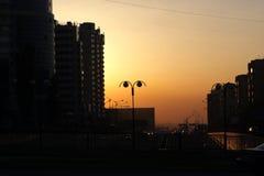 Almaty in sera Immagine Stock