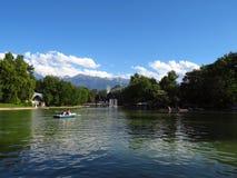 Almaty - sjö av Central Park Royaltyfri Fotografi