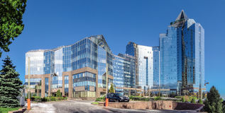 Almaty - tau di Nurly del centro di affari - panorama Fotografie Stock