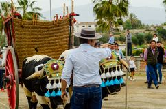 ALMAYATE,西班牙- 2018 4月21日,传统安达卢西亚的比赛 库存照片