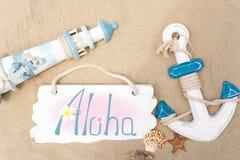 almeda 旅行横幅模板 灯塔、船锚、贝壳和黑板的照片题字的 旅游,海 库存照片