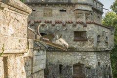 """Almenaje y pared del †de Lichtenstein del castillo """" Imagen de archivo"""