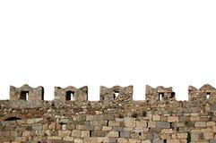 Almenajes aislados de la pared del castillo del castillo de Kos Foto de archivo libre de regalías
