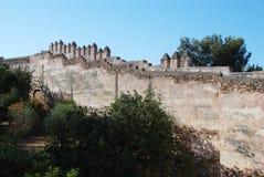 Almenajes del castillo de Málaga Foto de archivo