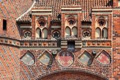 Almenajes en la puerta de Neustadt en Tangermuende Imagen de archivo