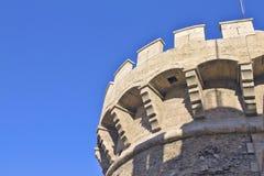 Almenajes en la torre del cuarto de galón Valencia Foto de archivo