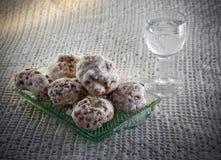 Almendrados and Liquor. Almendrados, a dessert made with almonds, traditional in Galicia, Spain Royalty Free Stock Photos