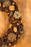 Almendras Anise Stars Hazel de los conos del pino de la decoración de la guirnalda de la Navidad Imagenes de archivo