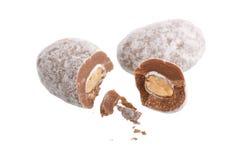 Almendras en el chocolate Fotos de archivo libres de regalías