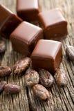 Almendras garapiñadas del chocolate con las habas del cooca Foto de archivo libre de regalías