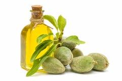 Almendras verdes y aceite de almendra Foto de archivo libre de regalías