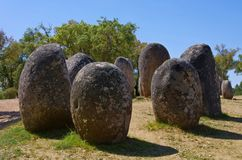 Almendres. Megalithic monument in Portugal Royalty Free Stock Photography