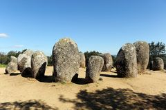 Almendres Cromlech, Cromeleque dos Almendres, Portugal, Southern Europe Royalty Free Stock Image