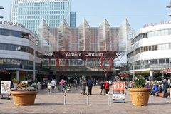 Almere Centrum train station and Stationsplein in Almere, The Netherlands. A picture of Almere Centrum train station and Stationsplein. Almere, The Netherlands royalty free stock photography