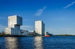 Almere, Nederland - Mei 5, 2015: Horizonflatgebouwen van Almere Stad Royalty-vrije Stock Fotografie