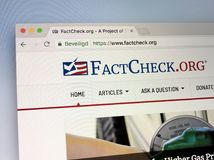 Homepage FactCheck.org. Almere, Netherlands - June 20, 2018: Homepage FactCheck.org, Fact Check is a website that consists of rebuttals to what it considers stock image