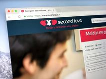 Homepage of dating site SecondLove. Almere, The Netherlands - March 23, 2018: Homepage of dating site Second Love, a controversial site due to its nature that it Royalty Free Stock Image