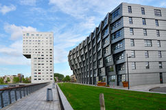 Almere, Netherlands - May 5, 2015: Exterior of modern apartment buildings in Almere. Royalty Free Stock Photo