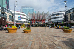 Almere, Netherlands - May 5, 2015: People visit Almere Central Station royalty free stock photography