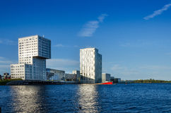 Almere, Netherlands - May 5, 2015: Skyline apartment buildings of Almere Stad Royalty Free Stock Photography