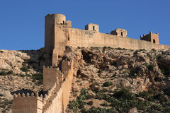 Almeria. Alcazaba - fortified Moorish castle on a hill in Almeria, Andalusia, Spain Royalty Free Stock Image