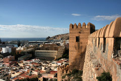 Almeria. Cityscape seen from Alcazaba fortified Moorish castle on a hill. Seaport in the background. Andalusia, Spain Stock Image