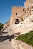 Almeria Alcazaba. Entrance and exterior walls of the Alcazaba of Almeria, moorish fortress dating from the 10th century royalty free stock photography